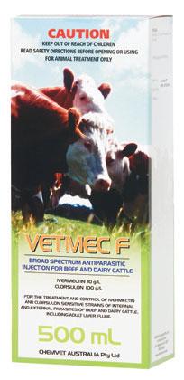 Vetmec F Broad Spectrum Antiparisitic Cattle Injection 500mL
