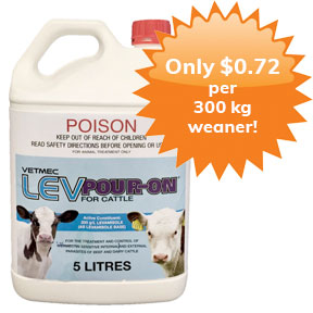 Vetmec-LEV-Pour-on-for-cattle-5L-Only-72-cents-per-300-kg-weaner